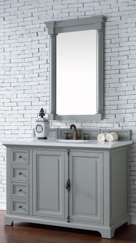 "Providence 48"" Urban Gray Single Vanity With 3Cm Snow White Quartz Top"