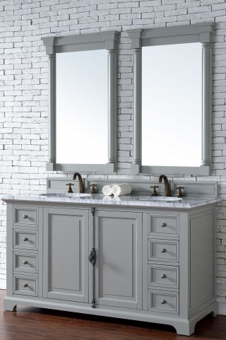 "Providence 60"" Urban Gray Double 2CM Top Vanity Set"