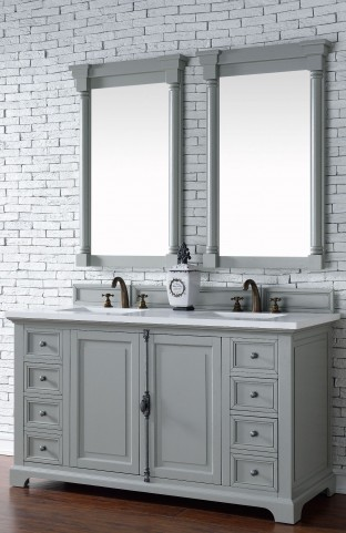 "Providence 60"" Urban Gray Double Vanity With 3Cm Snow White Quartz Top"