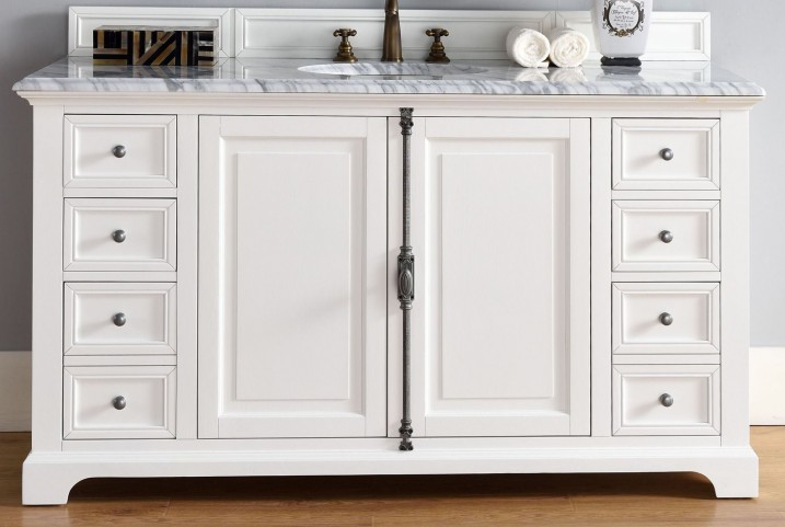 "Providence 60"" Cottage White Single 2Cm Top Vanity"