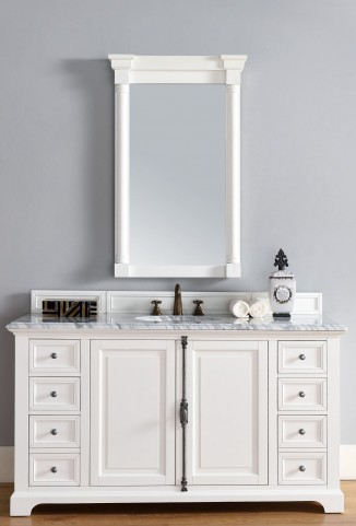 "Providence 60"" Cottage White Single 2CM Top Vanity Set"