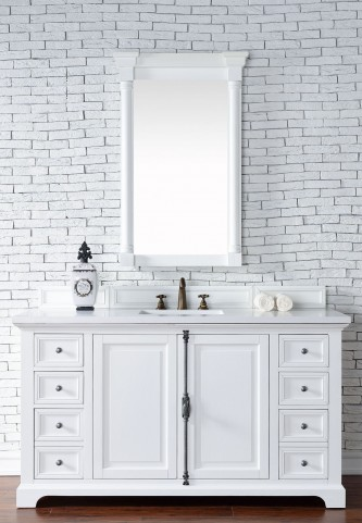 "Providence 60"" Cottage White Single Vanity With 3Cm Snow White Quartz Top"