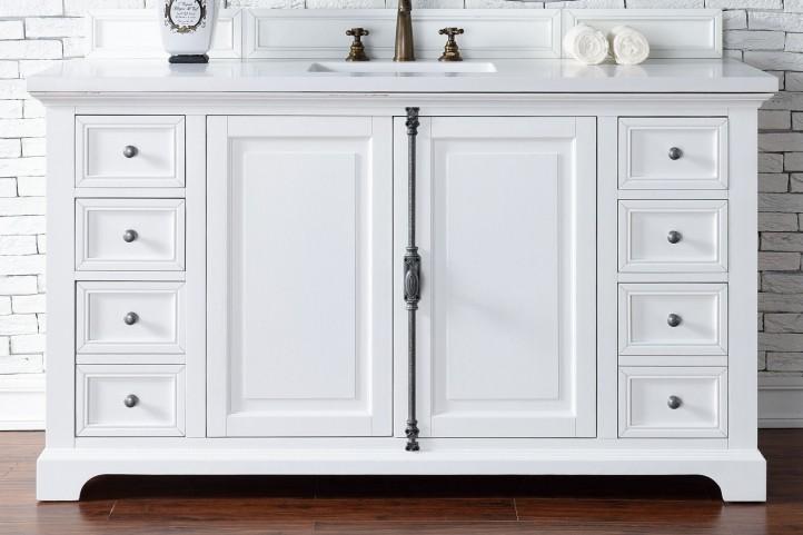 "Providence 60"" Cottage White Single Vanity With 3Cm Snow White Quartz Top"