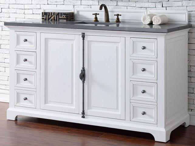"Providence 60"" Cottage White Single Vanity With 3Cm Shadow Gray Quartz Top"