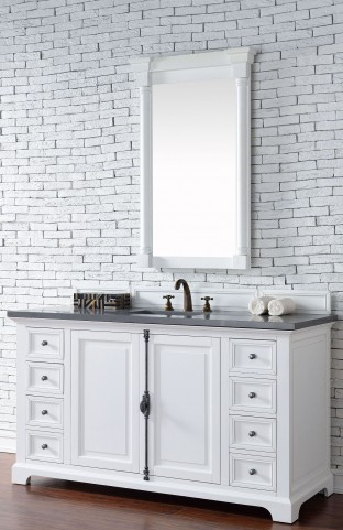 "Providence 60"" Cottage White Single Vanity With 3Cm Shadow Gray Quartz Top"