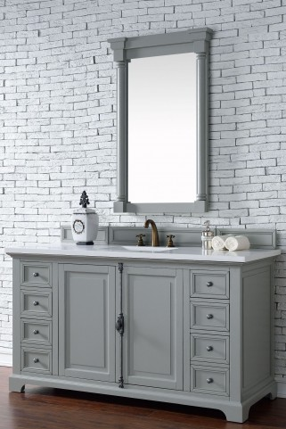 "Providence 60"" Urban Gray Single Vanity With 3Cm Snow White Quartz Top"