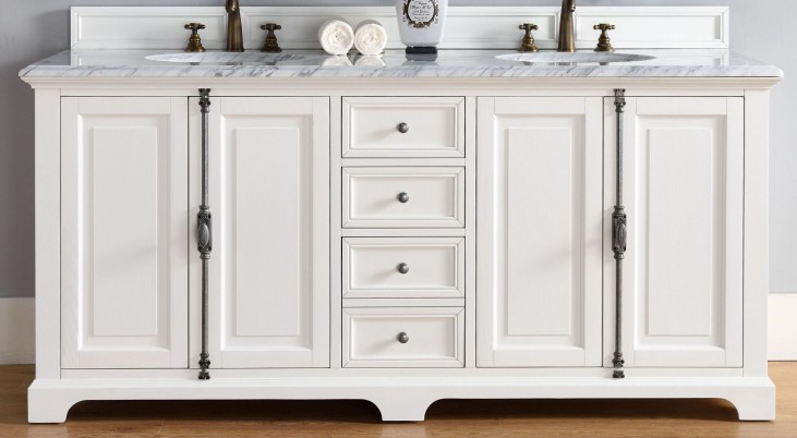 """Providence 72"""" Cottage White Double 2Cm Top Vanity"""