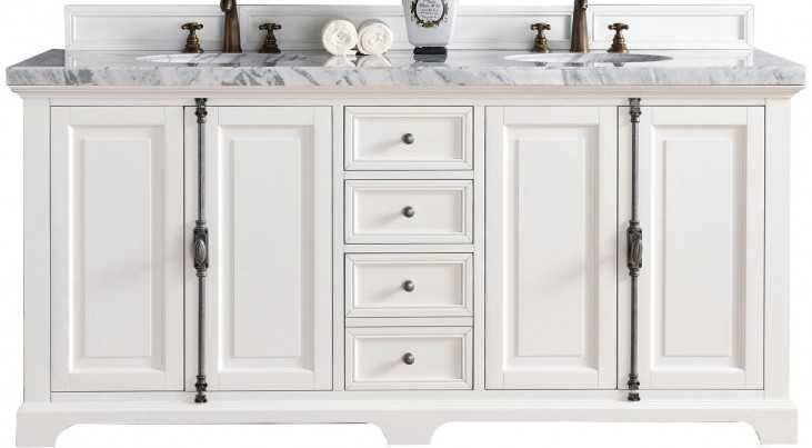 """Providence 72"""" Cottage White Double 4Cm Top Vanity"""