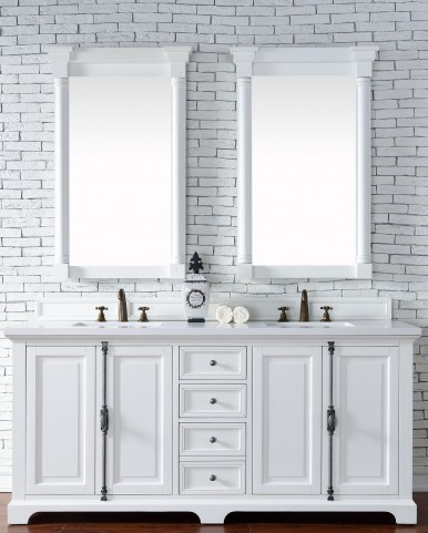 "Providence 72"" Cottage White Double Vanity With 3Cm Snow White Quartz Top"