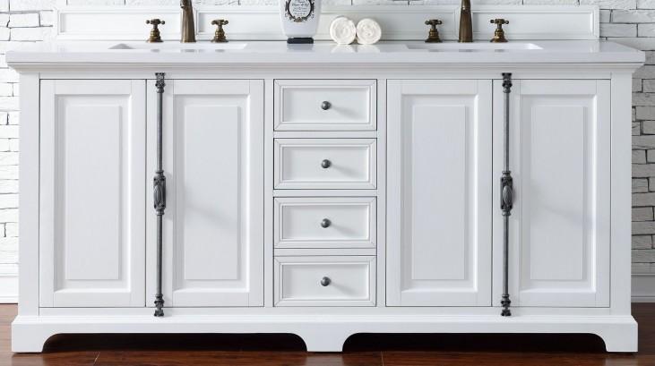 "Providence 72"" Cottage White Double Vanity With 3Cm Snow White Quartz Top"