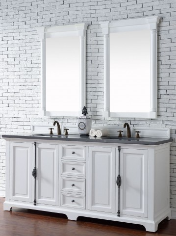 "Providence 72"" Cottage White Double Vanity With 3Cm Shadow Gray Quartz Top"
