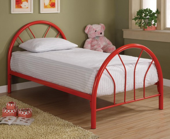 Rack em up Red Twin Metal Bed