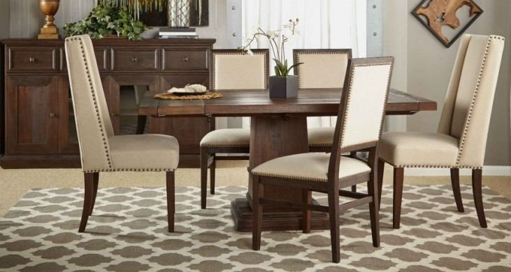 Hudson Rustic Java Square Extendable Pedestal Dining Room Set with Dexter Dining Chairs