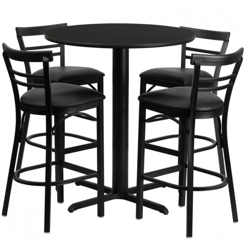 "24"" Round Black Table Set with Ladder Back Black Vinyl Bar Stool"