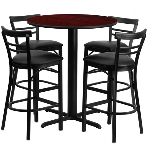 "24"" Round Mahogany Table Set with Ladder Back Black Vinyl Bar Stool"