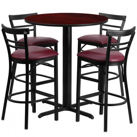 "24"" Round Mahogany Table Set with Ladder Back Burgundy Vinyl Bar Stool"