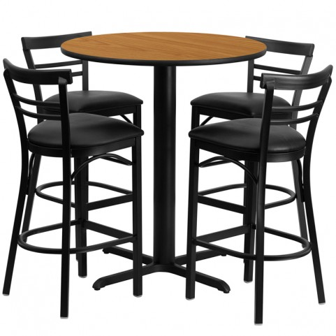 "24"" Round Walnut Table Set with Ladder Back Black Vinyl Bar Stool"