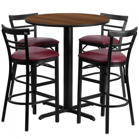 "24"" Round Walnut Table Set with Ladder Back Burgundy Vinyl Bar Stool"