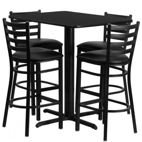 "24"" Rectangular Black Table Set with Ladder Back Black Vinyl Bar Stoo"