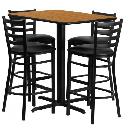 "24"" Rectangular Natural Table Set with Ladder Back Black Vinyl Bar Stool"