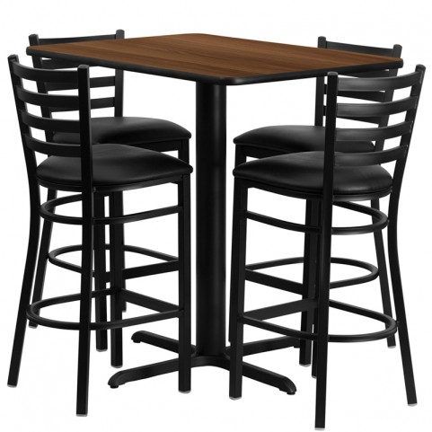 "24"" Rectangular Walnut Table Set with Ladder Back Black Vinyl Bar Stool"
