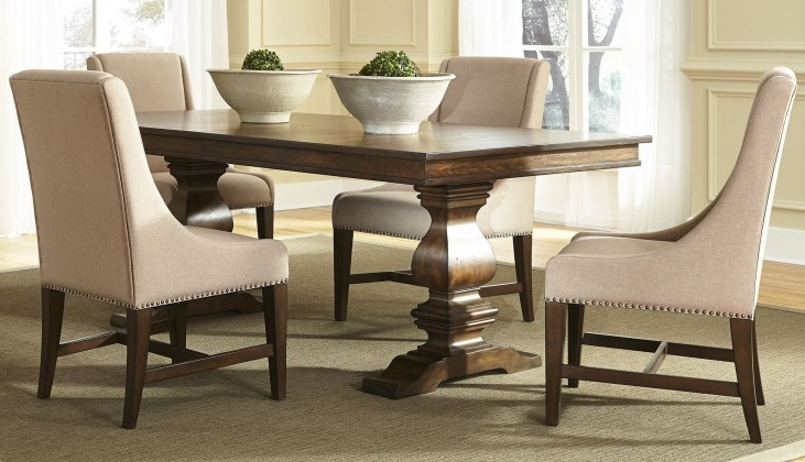 Armand Antique Brownstone Extendable Trestle Dining Room Set