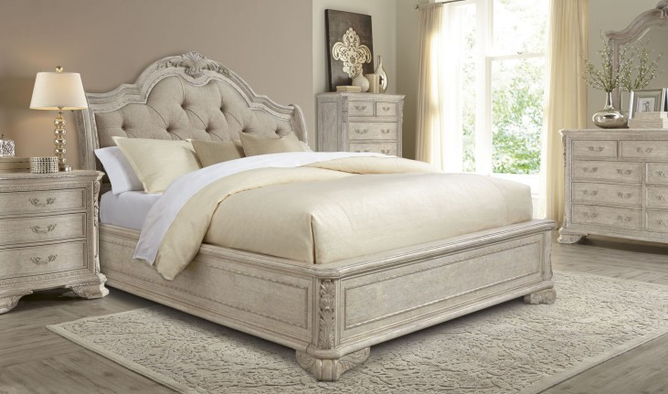 Renaissance Dove Grey Sleigh Upholstered Bedroom Set