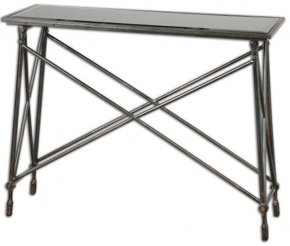 Collier Black Glass Console Table