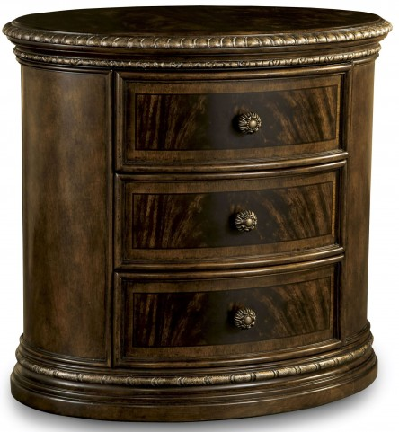 Gables 3 Drawer Oval Wood Nightstand