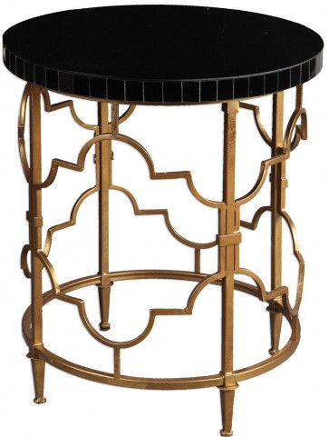 Mosi Gold Black Accent Table