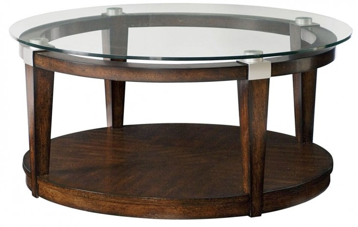 Solitaire Dark Brown Round Cocktail Table