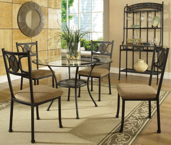 Carolyn Glass Top Round Dining Room Set