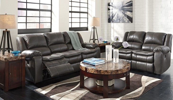 Long Knight Gray Reclining Living Room Set