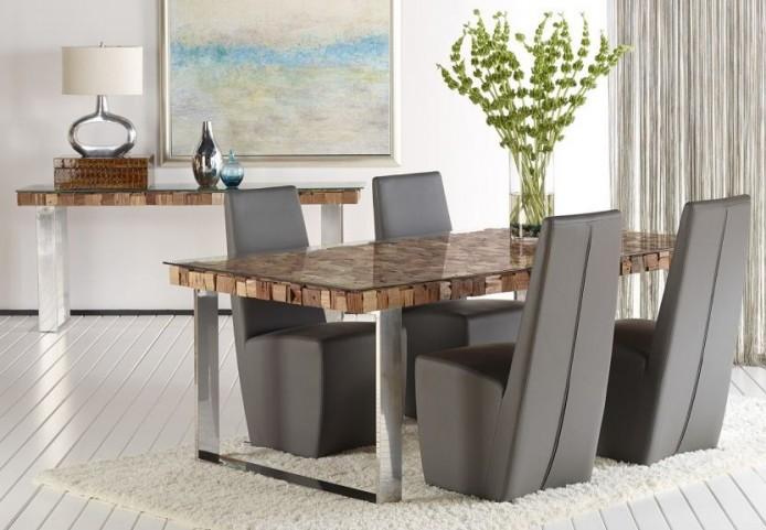 Taj Viaggi Magnolia Rectangular Stainless Steel Dining Room Set with Ritz Tobi Dining Chairs