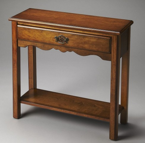 Stratford Plantation Cherry Olive Ash Burl Console Table
