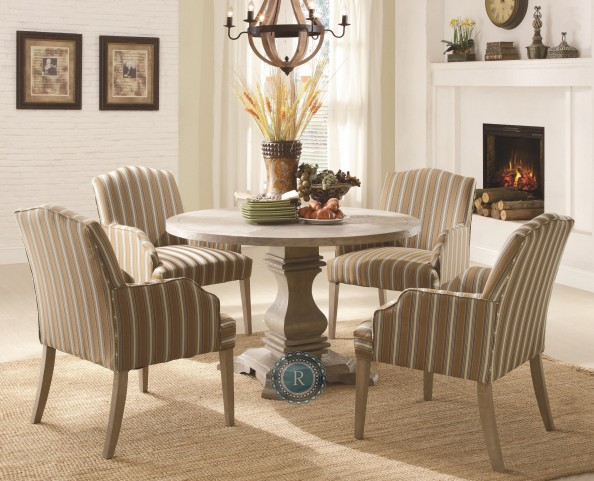 Euro Casual Rustic Weathered Dining Room Set