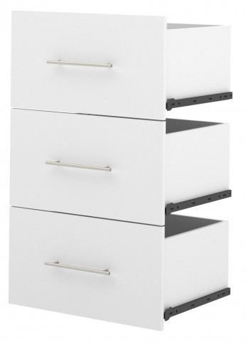 "Nebula White 3-Drawer Set For 25"" Storage Unit"