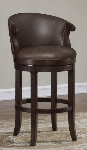 "Chocolate Brown Bonded Leather 30"" Wood Frame Stool"