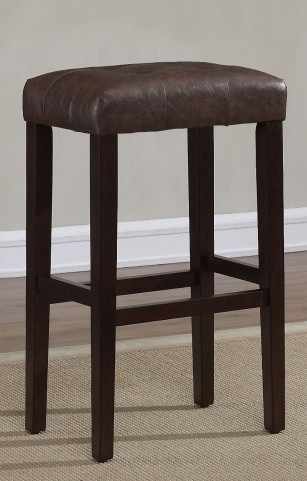 "Spice Brown Bonded Leather 30"" Backless Stool"