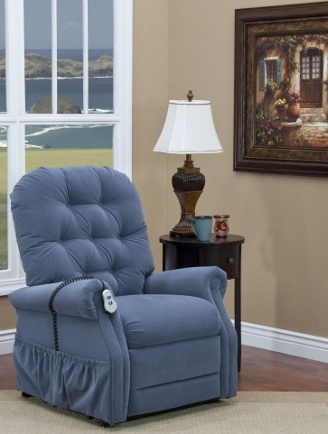 Aaron Williamsburg Blue Tufted Wide Three Way Reclining Lift Chair