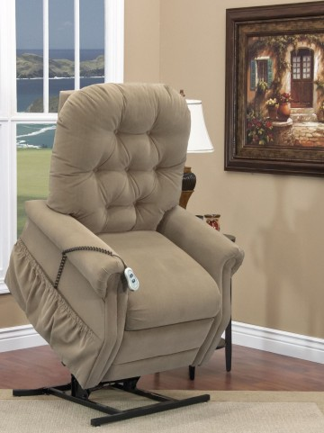 Aaron Light Brown Tufted Tall Three Way Reclining Lift Chair