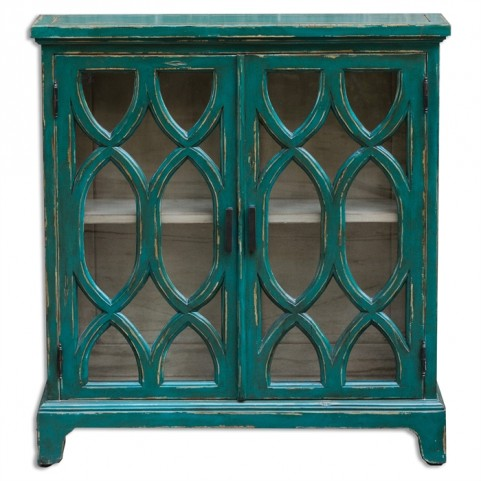 Theona Azure Blue Console Cabinet