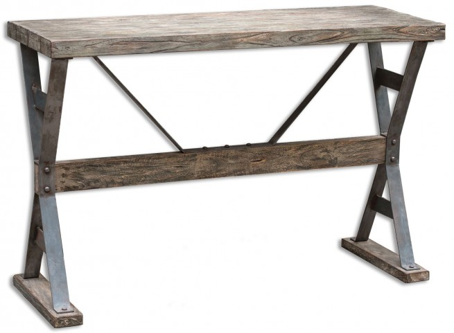Makoto Wooden Industrial Sofa Table