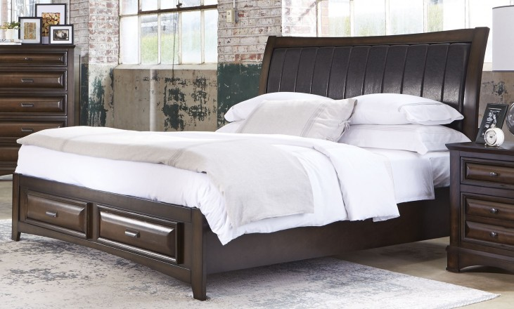 Knollwood Dark Cognac King Storage Bed