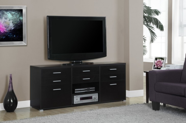 Cappuccino Hollow-Core 8 Drawers TV Console