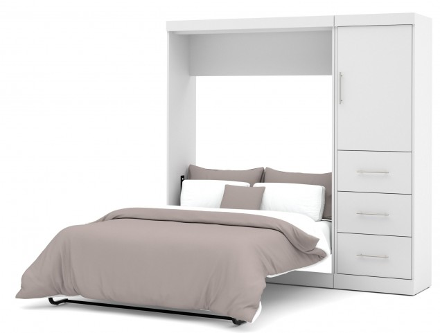 "Nebula White 84"" Full Wall Storage Bed"