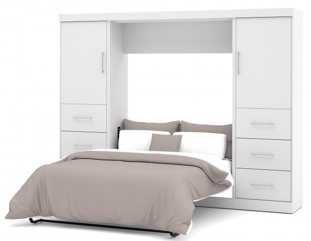 "Nebula White 109"" Full Wall Storage Bed"