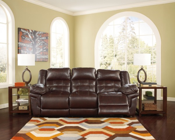 Randon Mahogany Reclining Sofa