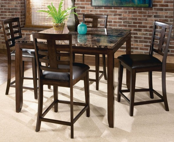 Bella Warm Chocolate Cherry Marbella Topped Square Counter Height Dining Room Set