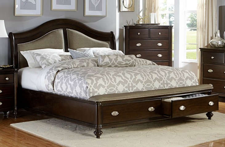 Marston Dark Cherry King Platform Storage Bed